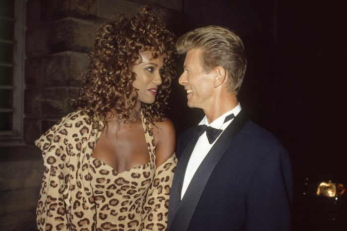 iman with husband british singer and songwriter david bowie at a bulgari gala at the orangerie at the chateau de versailles photo by david lefranc kipa sygma via getty images